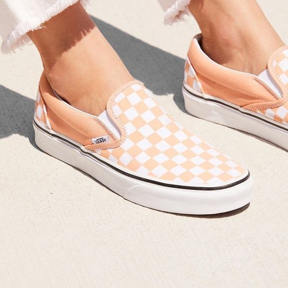 vans checkerboard peach